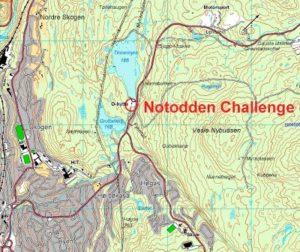 Kartet viser frammøtested for årets Notodden Challenge.