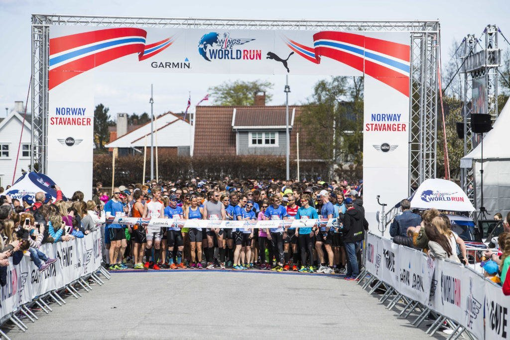 Participants compete during the Wings for Life World Run in Stavanger, Norway on May 3th, 2015.