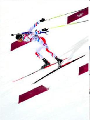 Martin Fourcade i aksjon under OL på Rossignol-ski.